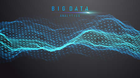 Blue abstract technology background. Vector data wave flow. Sound wave digital technology backdrop. Big data future technology background. Ilustração
