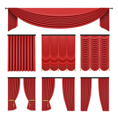 Red curtains set in classic style isolated on white background. Realistic 3d Luxury vector illustration.