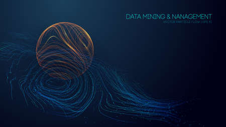 Big data analytics abstract vector background. Abstract technology background wave flow. Data science concept. 3d vector sphere data stream in abstract style. Ilustração