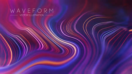 Plexus Vector Retro technology background. Computer technology Color flow background. Digital wave flow background. Ilustração