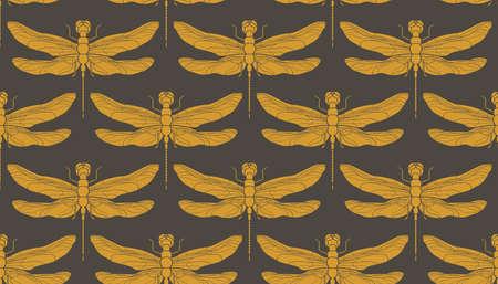 Dragonfly seamless pattern. Hand drawn vector illustration. Vintage retro illustration.