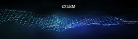 Futuristic vector illustration. Blue technology background. Big data vector. Technology wave abstract background.