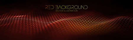 Abstract fire mesh background.Polygonal structure. Red technology background wave.