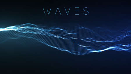 Music abstract background blue. Equalizer for music, showing sound waves with music waves, music background equalizer vector concept. Banque d'images
