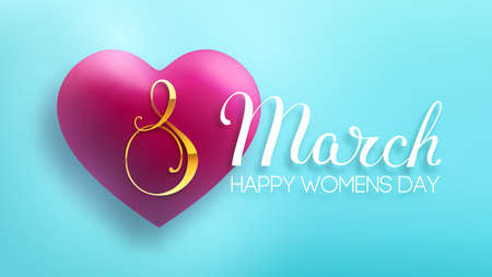 8 March women day vector heart on blue background. EPS 10 vector illustration. Red heart 3d vector for international women day.