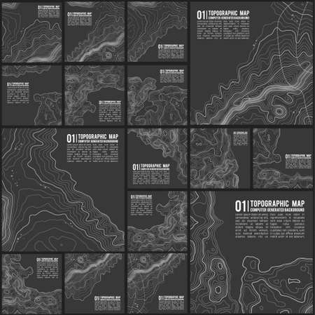 Grey contours vector topography. Geographic mountain topography vector illustration. Topographic pattern texture. Map on land vector terrain. Elevation graphic contour height lines. Vector Set.
