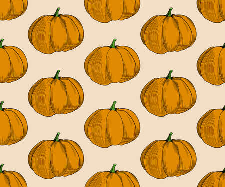 Pumpkin pattern vector on beige background. Trendy autumn colors in pumpkin seamless illustration. EPS 10 Vector. 矢量图像