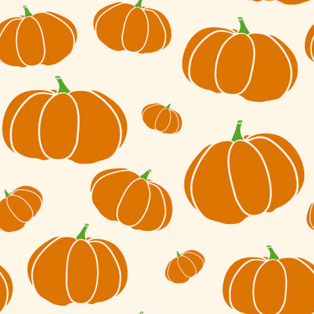Pumpkin seamless texture in trendy autumn colors. Beige background with pumpkin pattern vector. EPS 10
