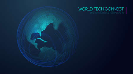 Internet network and science, technology background vector. World tech connect earth globe. 向量圖像