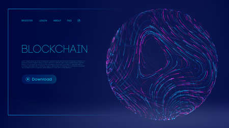 Digital currency technology concept. Vector illustration of block chain internet development. Blockchain cryptocurrency web landing page.
