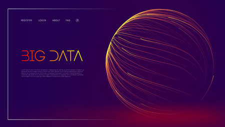 Business data structure analysis. Digital data stream visualization. Vector 3d lines energy flow illustration. Abstract purple big data visualisation on dark blue background.