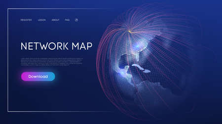 Global social network. Abstract vector background. Web design Network Map World Globe Vector. Digital Earth Technology background.