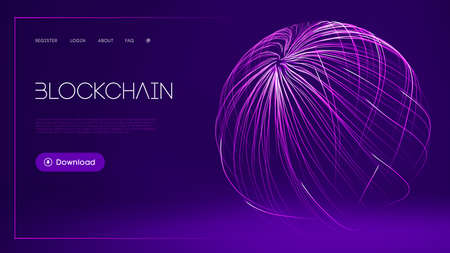 Blockchain technology background. Abstract sport background. Big data and data protection. Purple flow 3d vector illustration. 矢量图像