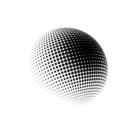 Halftone sphere dotted vector illustration. Circle halftone patterns dots logo. Globe vector illustration.