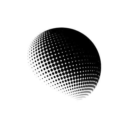 Halftone sphere dotted vector illustration. Circle halftone patterns dots logo. Globe vector illustration. Logos