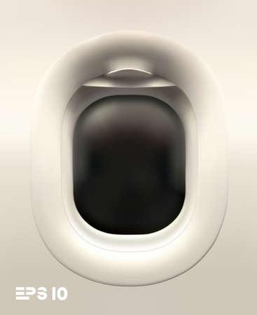 Plane illuminator vector on white background. Vector 3d realistic plane window. Travel tourism background. Vetores
