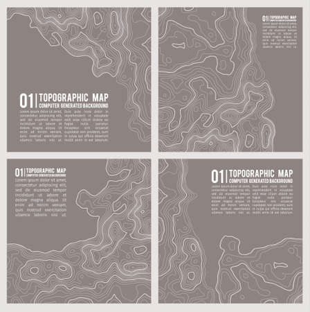 Geographic mountain topography vector illustration. Topographic pattern texture. Map on land vector terrain. Elevation graphic contour height lines. Vector Set. Ilustração Vetorial