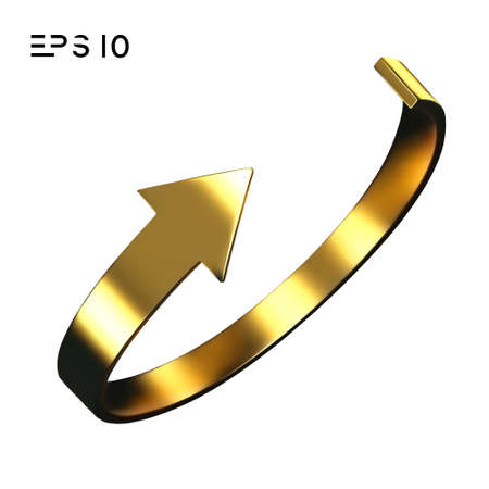 Gold arrow spin isolated on white background. Vector arrow button symbol. Vector illustration.