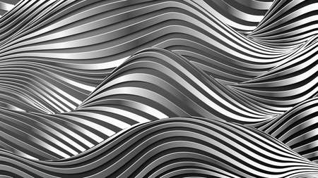 Silver waves pattern. Stainless steel background vector.