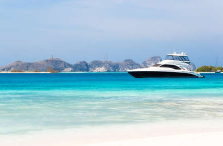 yachts: Luxury yacht at the beach Stock Photo