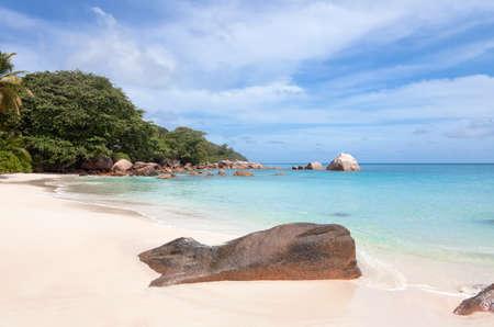 placidity: Deserted beach on the Praslin island, Seychelles Stock Photo