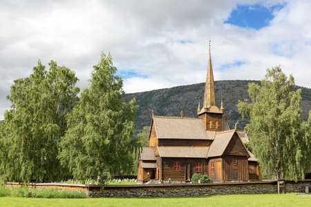 Ancient norwegian wood church photo