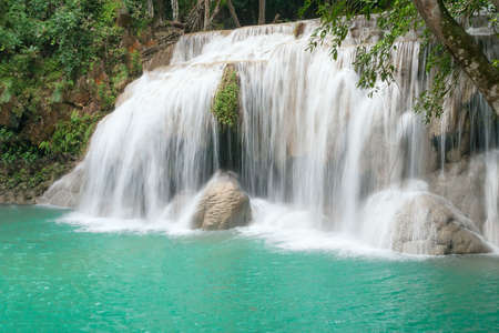 Fourth cascade of Erawan waterfall in Erawan National Park photo