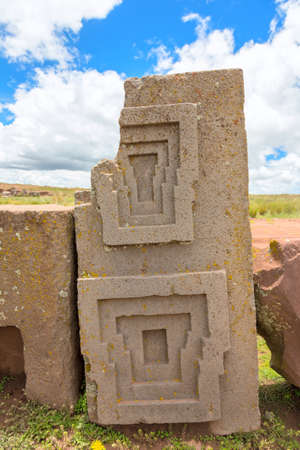 One of the megalithic stones with intricate carving in the complex Puma Punku, Bolivia