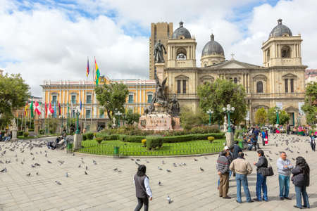 La Paz, Bolivia, 18 January 2013 - Plaza Murillo, Presidential Palace and Cathedral in La Paz. The cathedral is located on the main plaza, which is named for Pedro Domingo Murrillo Editorial
