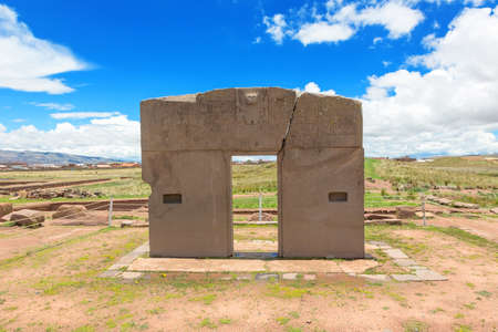 Megalithic solid stone arch Gate of the Sun constructed by the ancient Tiwanaku culture
