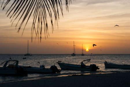 Sunset on archipelago Los Roques, Venezuela photo