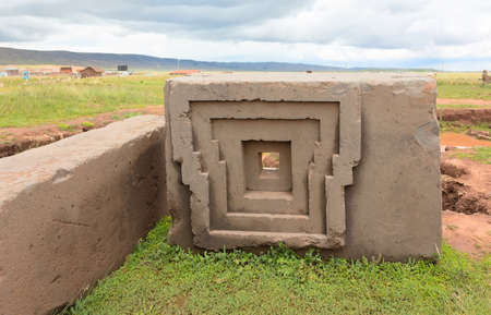 Megalithic stone in the complex Puma Punku, Bolivia  Stock Photo