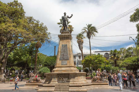 SUCRE - JANUARY 07: Plaza 25 de Mayo, monument to Antonio Jose de Sucre in Sucre, Bolivia on January 07, 2013. The monument is located on the main plaza of Sucre city. Editorial