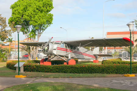 Jimmie Angel s aircraft, exhibited in front of Ciudad Bolivar airport, Venezuela Editorial