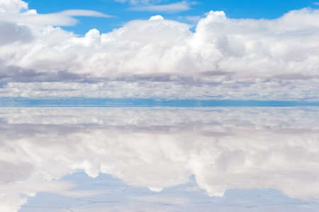 unruffled: Lake Salar de Uyuni with thin layer of water Stock Photo