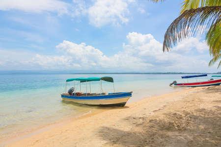 bateau voile: Bateau sur la belle plage tropicale