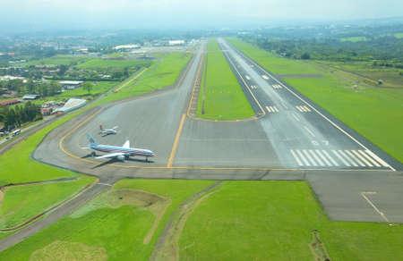 Aerial view of runway at Juan Santamaria International Airport on May 10, 2014 in San Jose, the capital of Costa Rica.