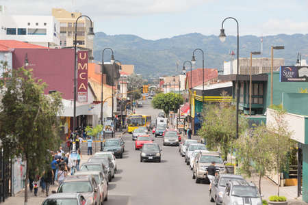 rica: SAN JOSE, COSTA RICA - MAY 17, 2014: Panoramic view one of the busiest streets in San Jose downtown, Costa Rica