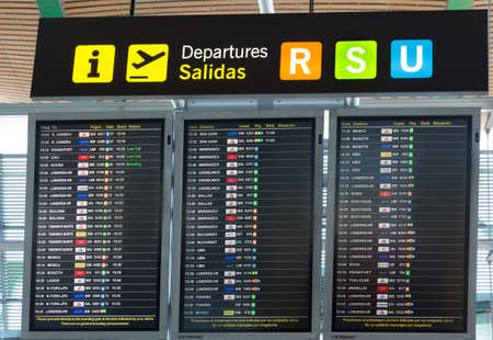 barajas: MADRID, SPAIN - JANUARY 05: Board departures in the terminal of Adolfo Suarez MadridBarajas Airport on January 05, 2013 in Madrid, Spain. It the countrys largest and busiest airport