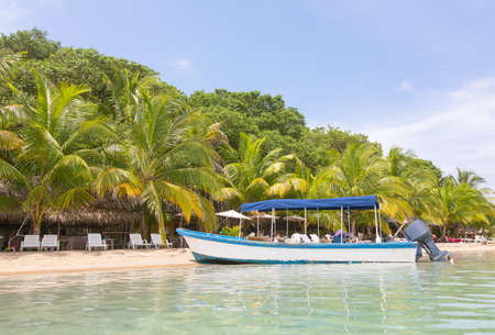 del: Boats at the beach, archipelago Bocas del Toro, Panama Stock Photo