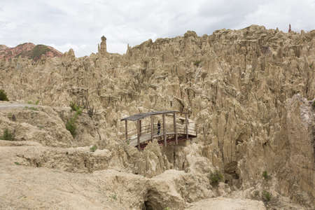 baratro: Bridge over the chasm in the Moon Valley Valle de la Luna, Bolivia