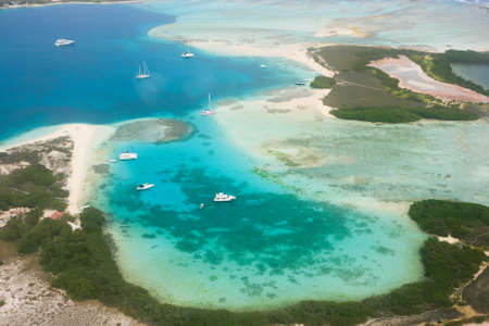 archipelago: Aerial view of yachts at archipelago Los Roques, Venezuela Stock Photo