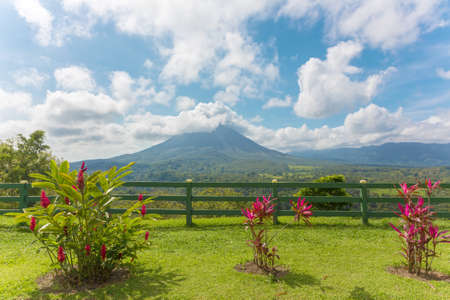 rica: View of the Arenal Volcano from observation point, Costa Rica
