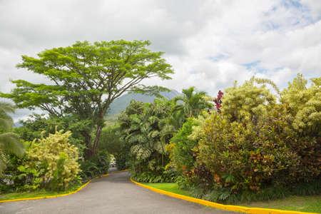 fortuna: View of Arenal Volcano cone from La Fortuna place, Costa Rica Stock Photo