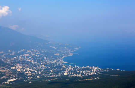 Aerial view of Yalta city from Mount Ai-Petri mountain in Crimea