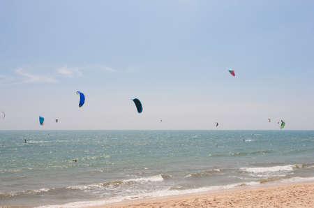 Kitesurfing in Phan Thiet town (Mui Ne), Vietnam