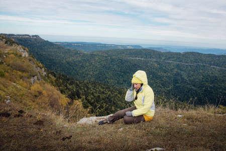karavanke: girl tourist on background of mountain scenery Stock Photo