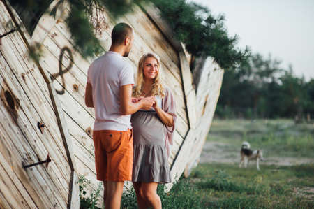 Couple of pregnant woman and her husband Stock Photo