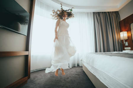 The bride is having fun at the hotel