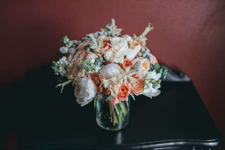 stylish beautiful bridal bouquet from different flowers Archivio Fotografico - 95218106